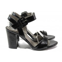 Дамски сандали - еко кожа-лак - черни - EO-14098
