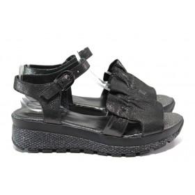 Дамски сандали - естествена кожа - черни - EO-14099