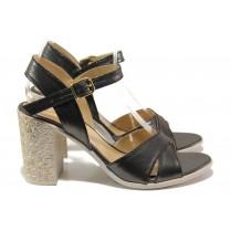 Дамски сандали - висококачествена еко-кожа - сиви - EO-14093