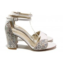 Дамски сандали - висококачествена еко-кожа - бели - EO-14097