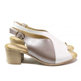Дамски сандали - естествена кожа - бели - EO-14092
