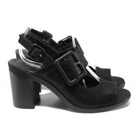 Дамски сандали - естествена кожа - черни - EO-14087