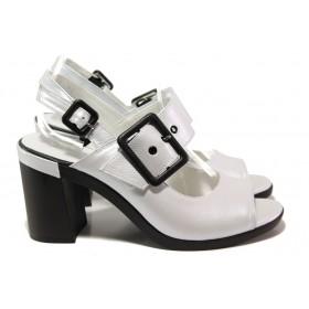 Дамски сандали - естествена кожа - бели - EO-14088
