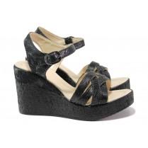 Дамски сандали - естествена кожа - черни - EO-14167