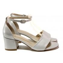 Дамски сандали - висококачествена еко-кожа - сребро - EO-14164