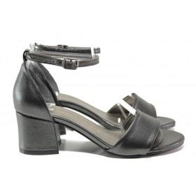 Дамски сандали - висококачествена еко-кожа - сиви - EO-14163
