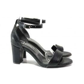 Дамски сандали - висококачествена еко-кожа - черни - EO-14187