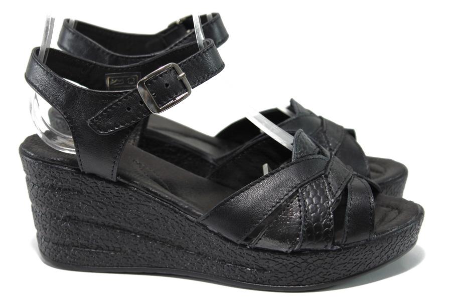 Дамски сандали - естествена кожа - черни - EO-14198
