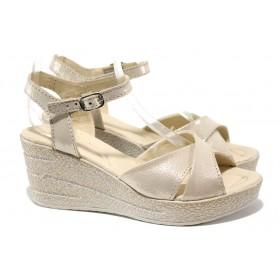 Дамски сандали - естествена кожа - бежови - EO-14201