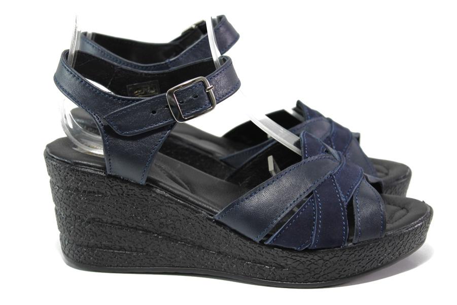 Дамски сандали - естествена кожа - тъмносин - EO-14199