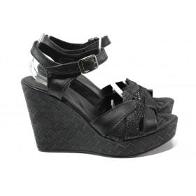 Дамски сандали - естествена кожа - черни - EO-14200