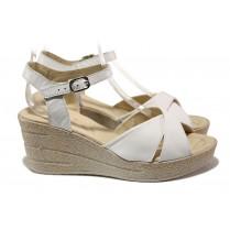 Дамски сандали - естествена кожа - бели - EO-14202