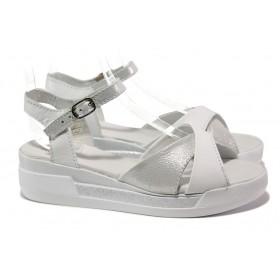 Дамски сандали - естествена кожа - бели - EO-14205