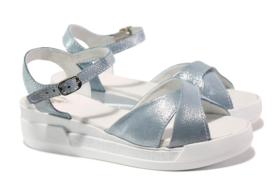 Дамски сандали - естествена кожа - светлосин - EO-14206