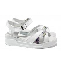 Дамски сандали - естествена кожа - бели - EO-14207