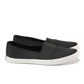 Дамски спортни обувки - висококачествен текстилен материал - черни - EO-14211