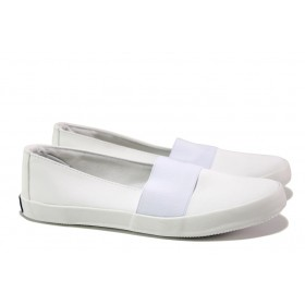 Дамски спортни обувки - висококачествен текстилен материал - бели - EO-14210