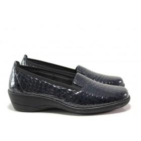 Дамски обувки на платформа - естествена кожа-лак - тъмносин - EO-14402