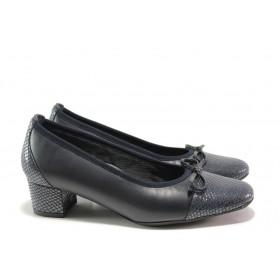 Дамски обувки на среден ток - естествена кожа - сини - EO-14401