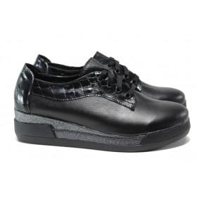 """Дамски обувки на платформа - естествена кожа с """"кроко"""" мотив - черни - EO-14428"""