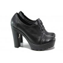 Дамски обувки на висок ток - естествена кожа - черни - EO-14430