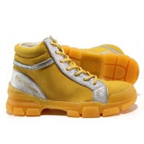Дамски боти - висококачествен еко-велур - жълти - EO-14457