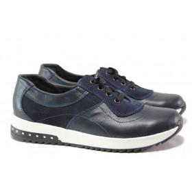 Равни дамски обувки - естествена кожа - тъмносин - EO-14489