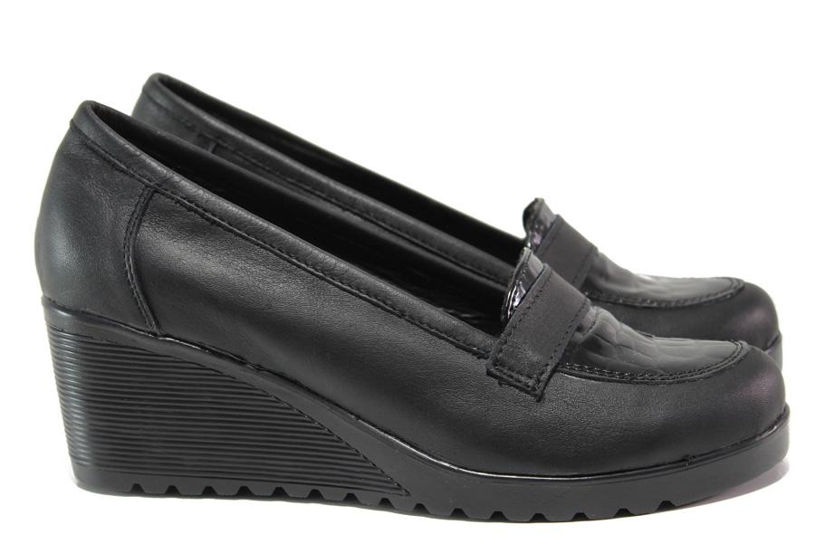 Дамски обувки на платформа - естествена кожа - черни - EO-14486
