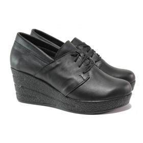 Дамски обувки на платформа - естествена кожа - черни - EO-14485