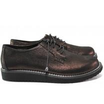 Равни дамски обувки - естествена кожа - бордо - EO-14517