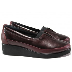 Дамски обувки на платформа - естествена кожа - бордо - EO-14516
