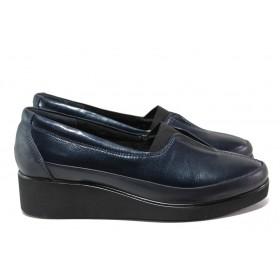 Дамски обувки на платформа - естествена кожа - тъмносин - EO-14543