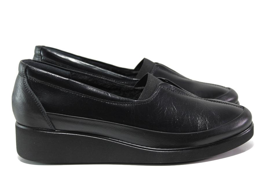 Дамски обувки на платформа - естествена кожа - черни - EO-14544