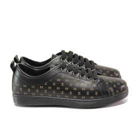 Равни дамски обувки - естествена кожа - черни - EO-14540