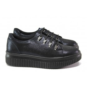 Равни дамски обувки - естествена кожа - тъмносин - EO-14538