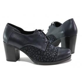 Дамски обувки на висок ток - естествена кожа с естествен велур - тъмносин - EO-14537