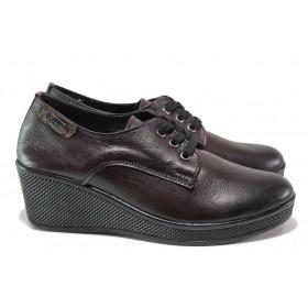 Дамски обувки на платформа - естествена кожа - бордо - EO-14565
