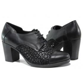 Дамски обувки на висок ток - естествена кожа с естествен велур - черни - EO-14600
