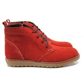 Дамски боти - естествен велур - червени - EO-14657