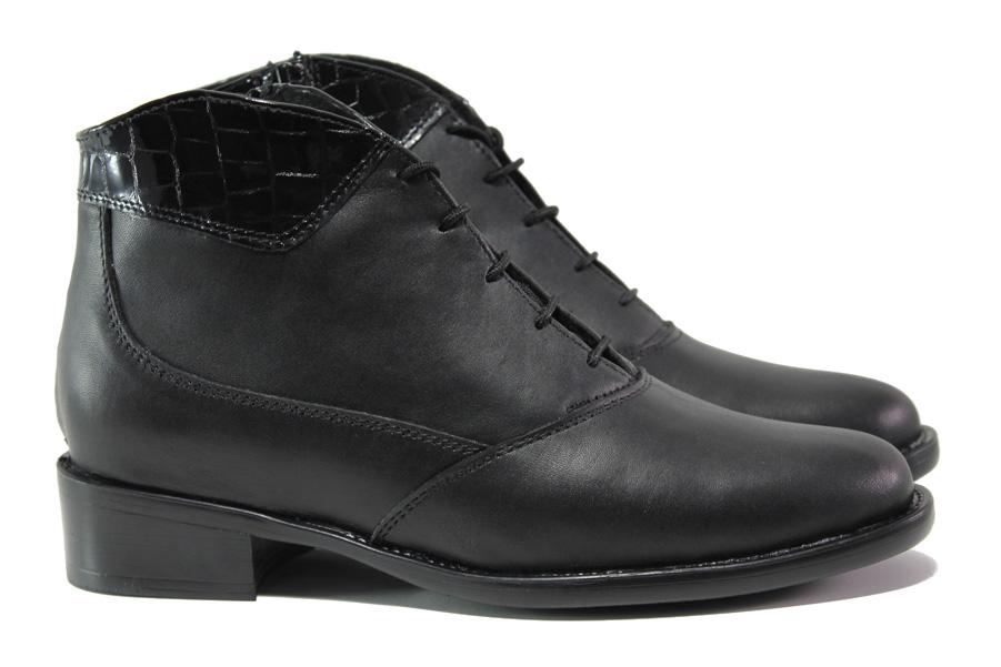 Дамски боти - естествена кожа - черни - EO-14684