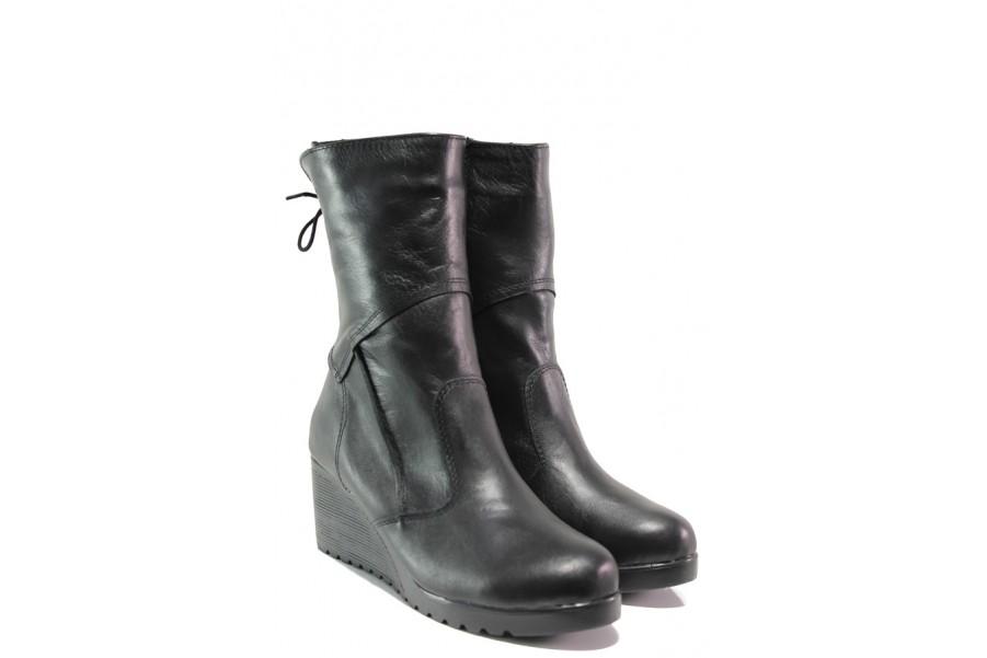 Дамски боти - естествена кожа - черни - EO-14706