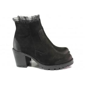 Дамски боти - естествен набук - черни - EO-14709
