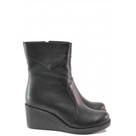 Дамски боти - естествена кожа - черни - EO-14738
