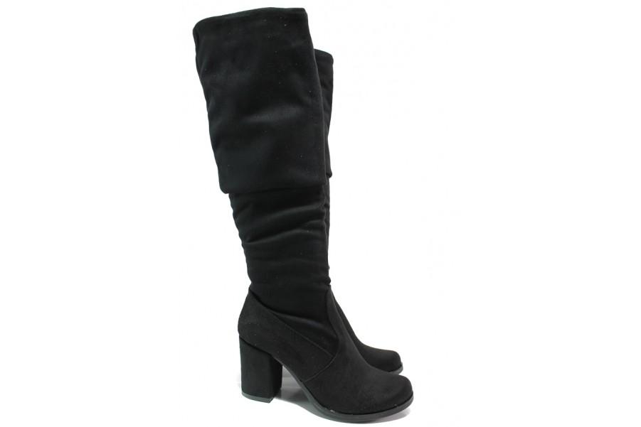Дамски ботуши - висококачествен еко-велур - черни - EO-14793