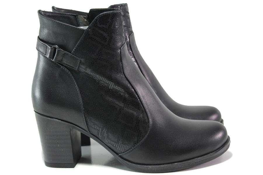 Дамски боти - естествена кожа - черни - EO-14875