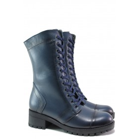 Дамски боти - естествена кожа - сини - EO-14885