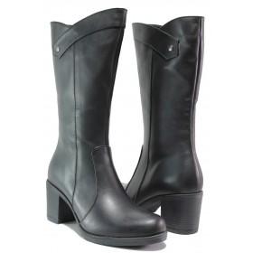 Дамски ботуши - естествена кожа - черни - EO-14933