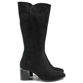 Дамски ботуши - висококачествен еко-велур - черни - EO-14934