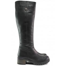 Дамски ботуши - естествена кожа - черни - EO-14932