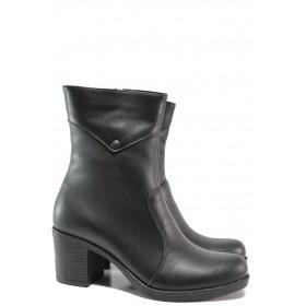 Дамски боти - естествена кожа - черни - EO-14981